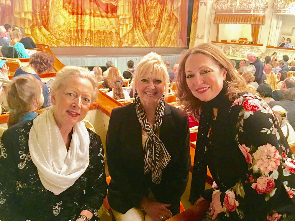 "Astrid Clements, Gina Abraham and Renee Chatelain at Mikhailovsky Theatre—one of Russia's oldest opera and ballet houses—awaiting the Mariinsky Ballet performing Nacho Duato's ""Romeo and Juliet."""