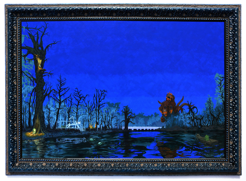 "Jonathan Mayers.  La Chousse verte sur la bordure du bayou des Acadiens  (The Green Stump on the Edge of Bayou des Acadiens). Acrylic and Bayou des Acadiens sediment on panel, repurposed frame. 29.75""x 41.75"". 2017. (Courtesy the Artist and Arthur Roger Gallery, image credit: Michael Smith)"