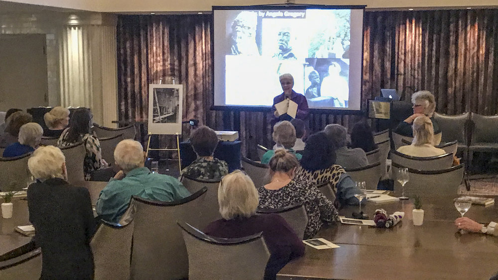 Susan Hymel, Angela Gregory historian, speaks in The Gregory restaurant, Watermark Hotel, Baton Rouge, at the launch of  A Dream and a Chisel , 7 February 2019.