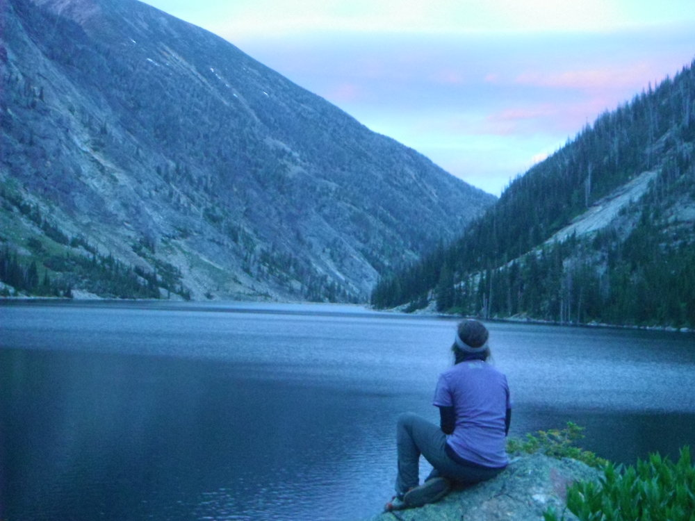 Taking a moment to give thanks and soak in all the beauty. Bass lake, MT