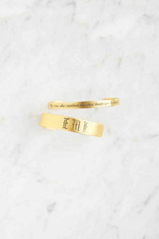 (click to shop):  Blessing cuff Bracelet ,  Custom Engraved Gothic Monogram Cuff Bracelet