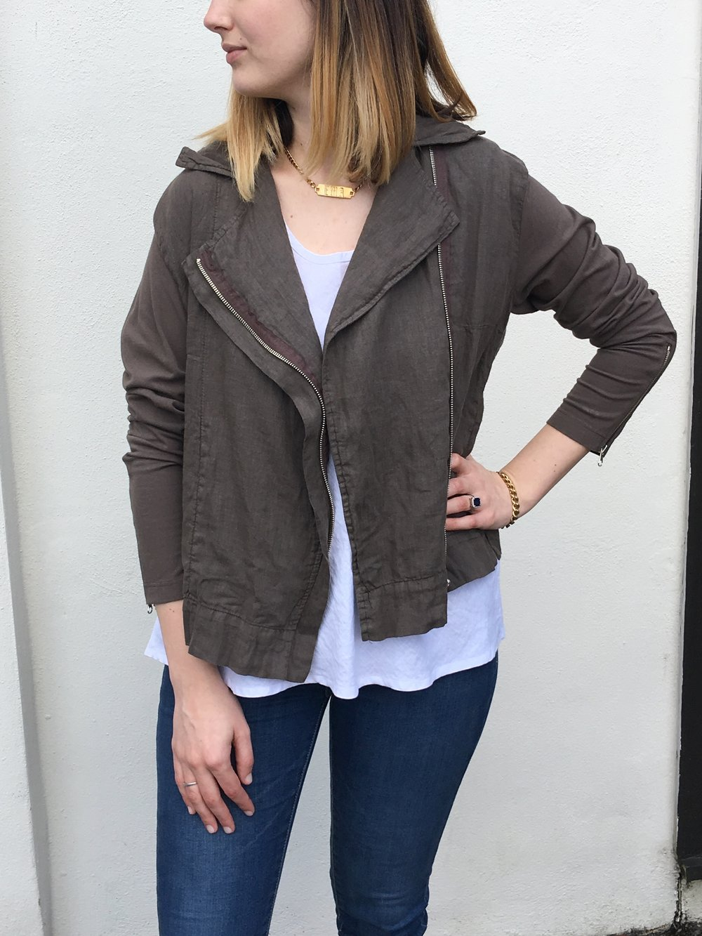 linen moto jacket for spring