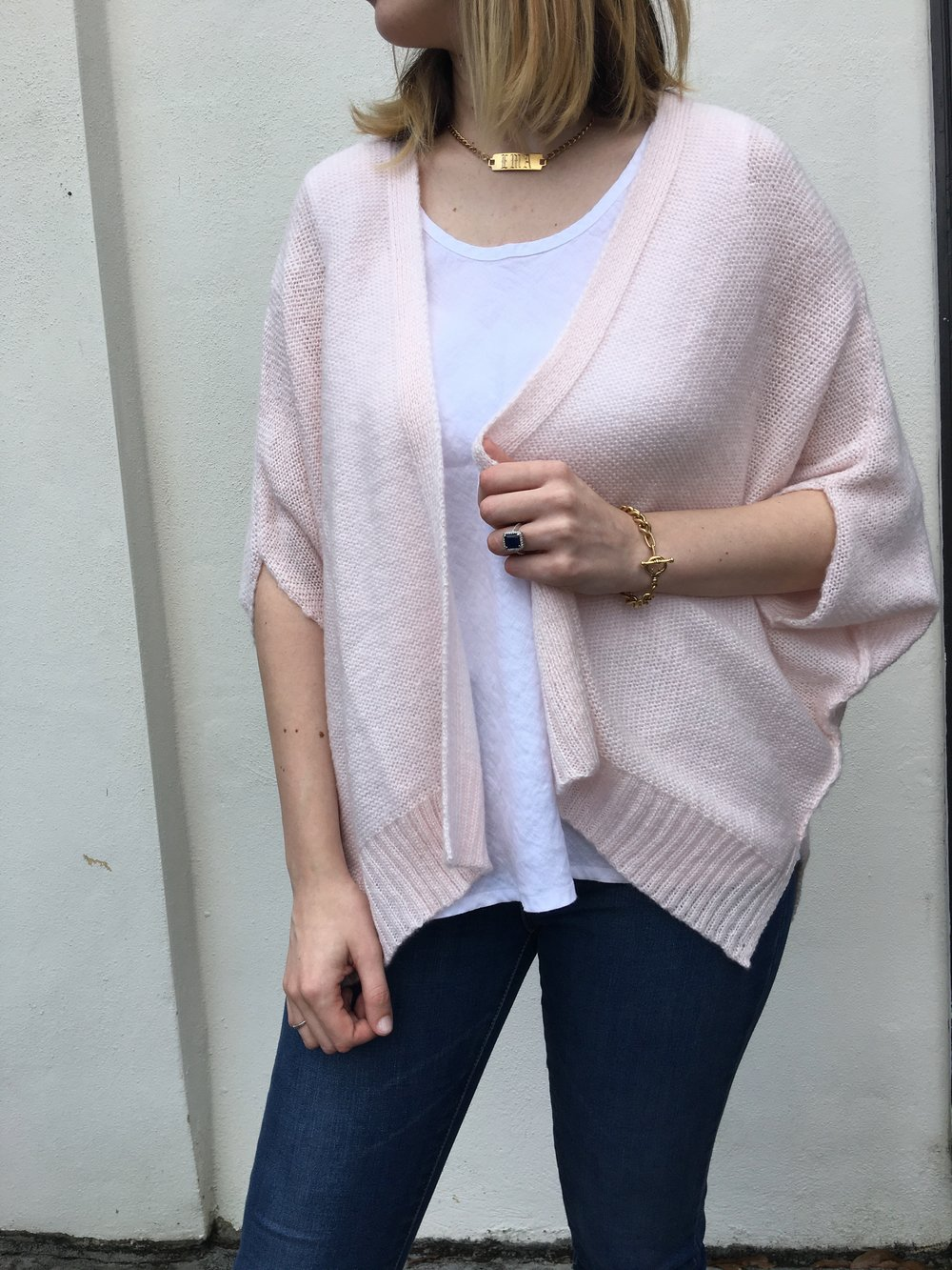 blush sweater shrug for spring