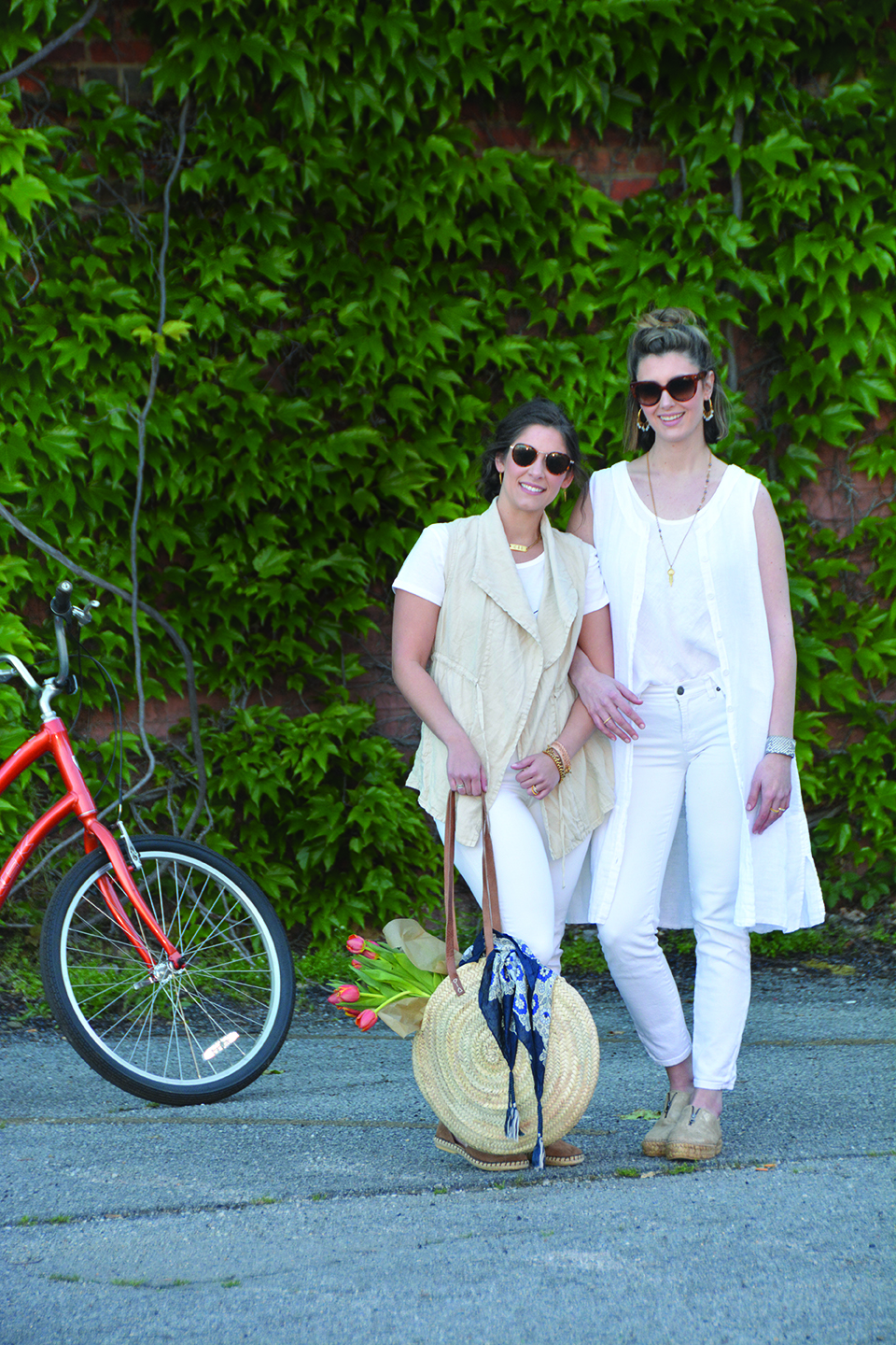 Bike rides and farmer's market trips with friends.    MODEL ON LEFT :  Linen Vest in Stone $78 (also available in Java) ,  Swallow & Stars T-Shirt $29 , Espadrille in Taupe $78 (in showroom only),  ID Necklace $98 ,  Gold Dagger Earring $69 ,  Lucy Wrapping Leather and Chain Bracelet in Natural and Gold $149 ,  Braided Leather Bracelet $59 , Wilson Bracelet $79, Straw Tote with Leather Handle $98 (in showroom only),  Johnny Was Silk Scarf in Blue $89    MODEL ON RIGHT :  Linen Duster $96 ,  White Linen Tank $54 ,  Mia Necklace with Moonstone with Amy Pendant $189 ,  Kimberly Hoop Earring with Moonstone $98 , Matte Gold Espadrille $140 (in store only)