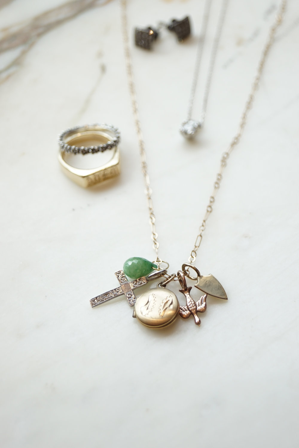 """Client's own vintage locket with an assortment of Elizabeth Adams pendants.  Click here to view Elizabeth Adams 14K 33"""" Base Necklace.   Click here to view Elizabeth Adams Pendants."""
