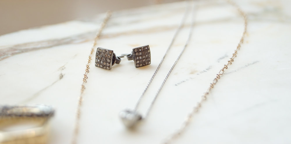 Click here to view the Oxidized Silver Pave Earrings.