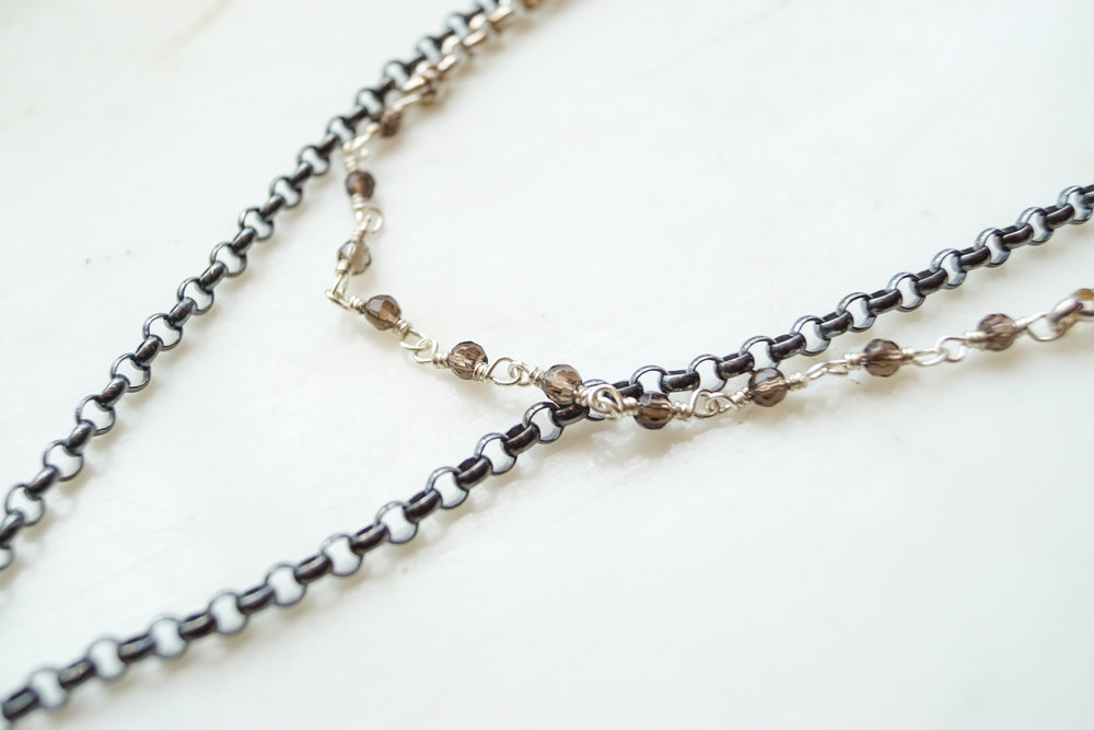 "Click here to view the Sterling Silver Kirby Necklace.   Click here to view the Oxidized Silver Yates 33"" Necklace."