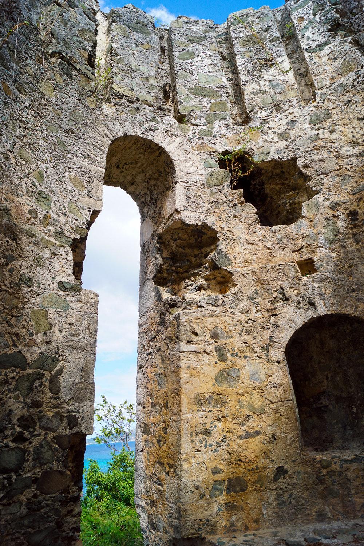 windmill from danish sugar plantation ruin st john virgin island hiking trail to ruin
