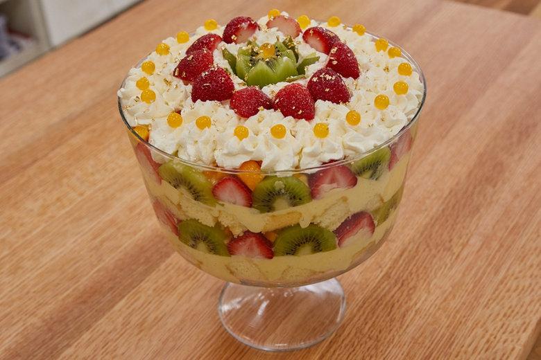 Mango Kiwi Strawberry Trifle - with Mango Boba