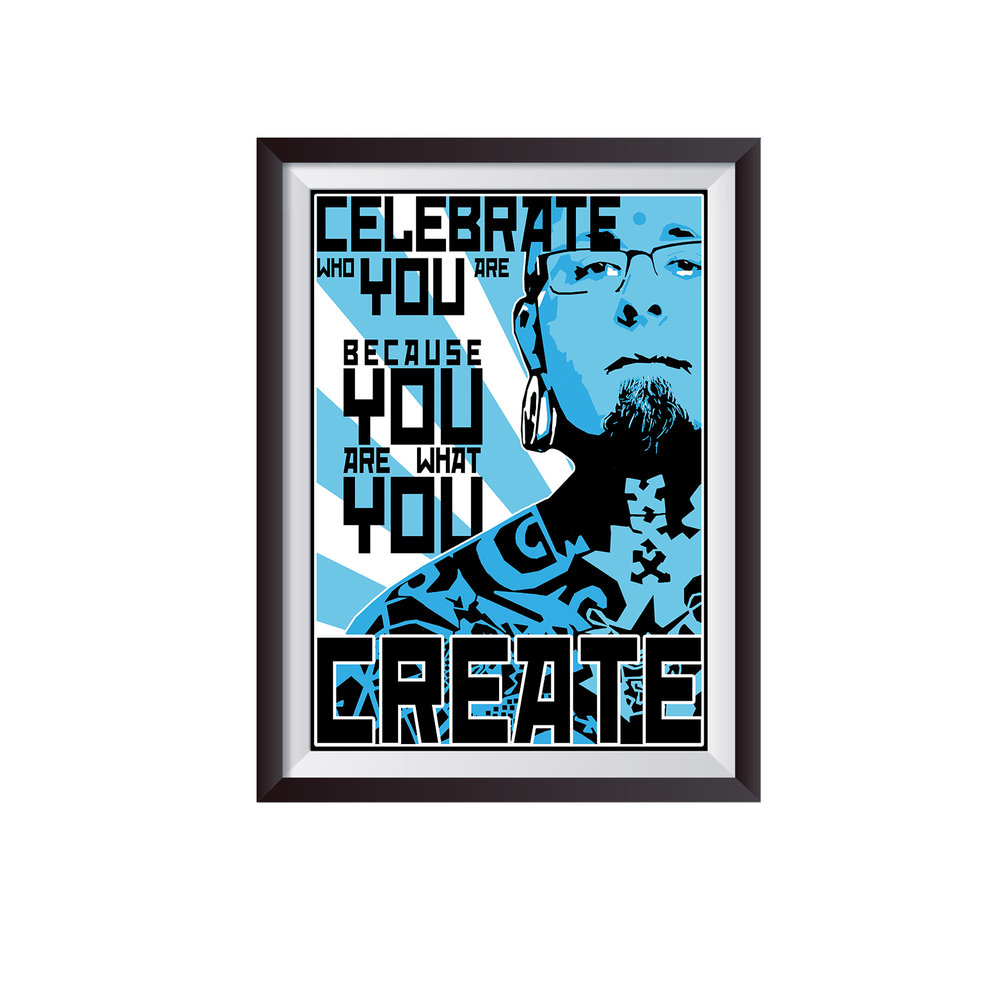 CELEBRATE   c. 2014   Third in a series of five graphic prints  Client: Joshua Coburn.  .