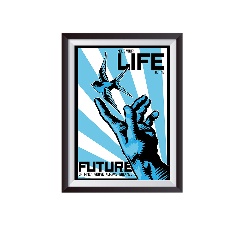 LIFE   c. 2014   First in a series of five graphic prints  Client: Joshua Coburn.