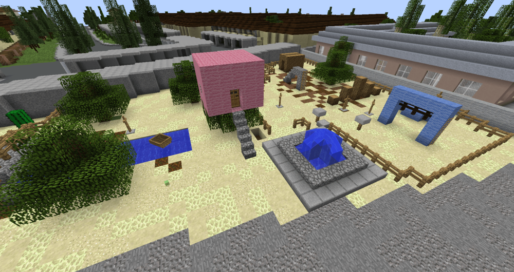 Minecraft Model of public space concept designed by migrant children, Anaheim, California