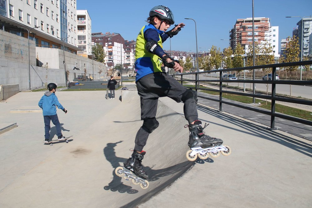Enjoying the skatepark proposed and designed by neighborhood youth, Pristina, Kosovo Credit: Block by Block team