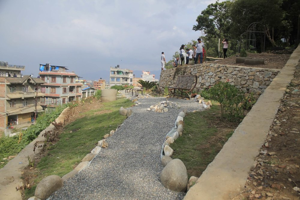Completed hillside park, Kirtipur, Nepal Credit: CIUD