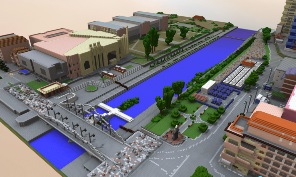 3D Minecraft Model of Community-Designed Public Space in Mitrovica, Kosovo   [Image source: https://drive.google.com/open?id=1OR9LOjJUPq0myj2wZ5b-NIOo6P4-Wogw]