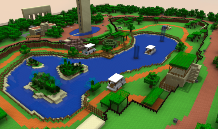 D Minecraft Model Of Parque Animaya Merida