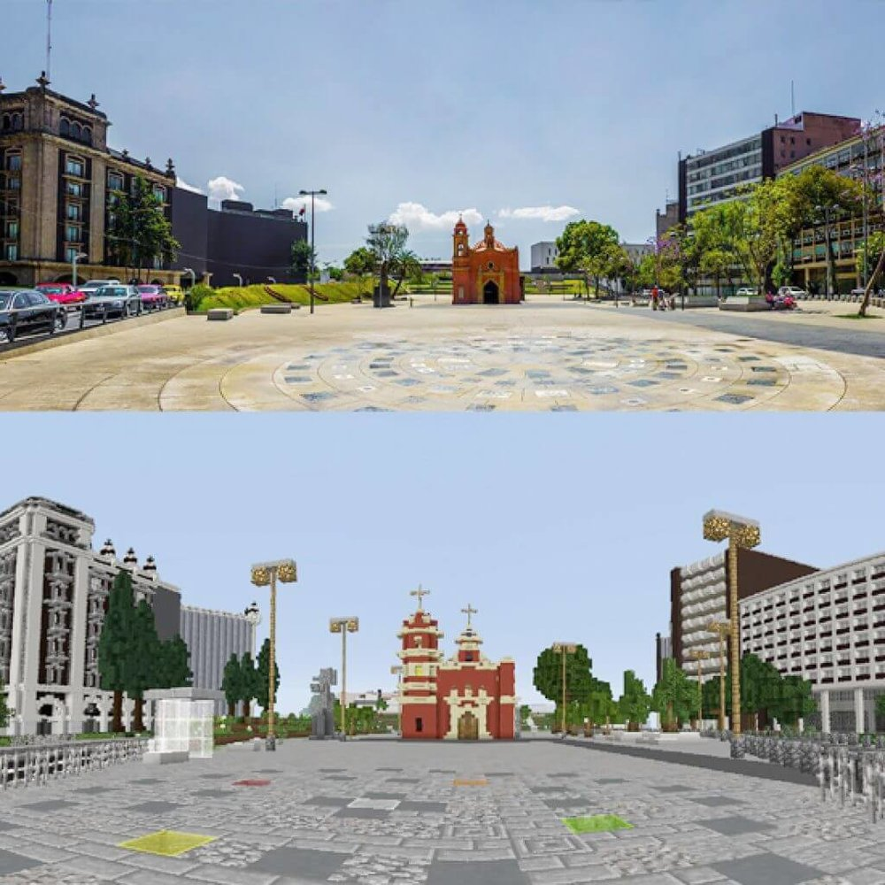 Photo/3D Minecraft Model of Plaza Tlaxcoaque, Mexico City