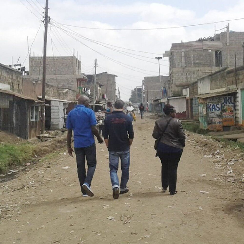 Surveying the neighborhood for model street development, Dandora, Nairobi Credit: Placemakers