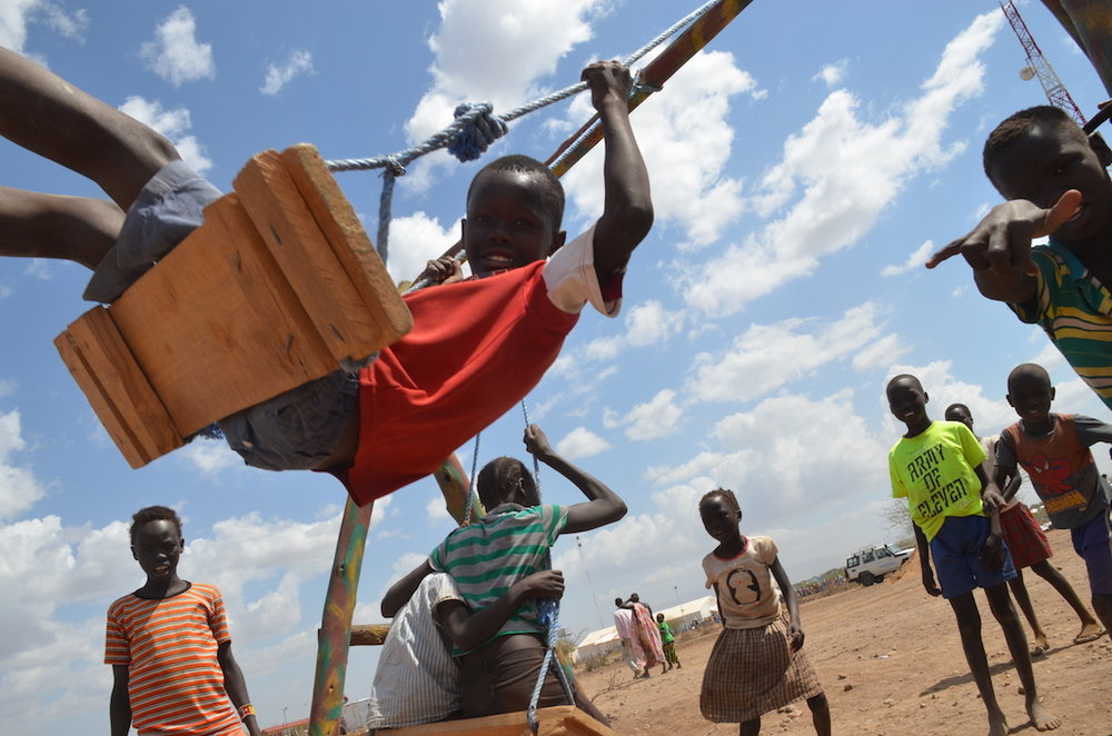 Kids playing at the newly updated Kalobeyei Integrated Settlement