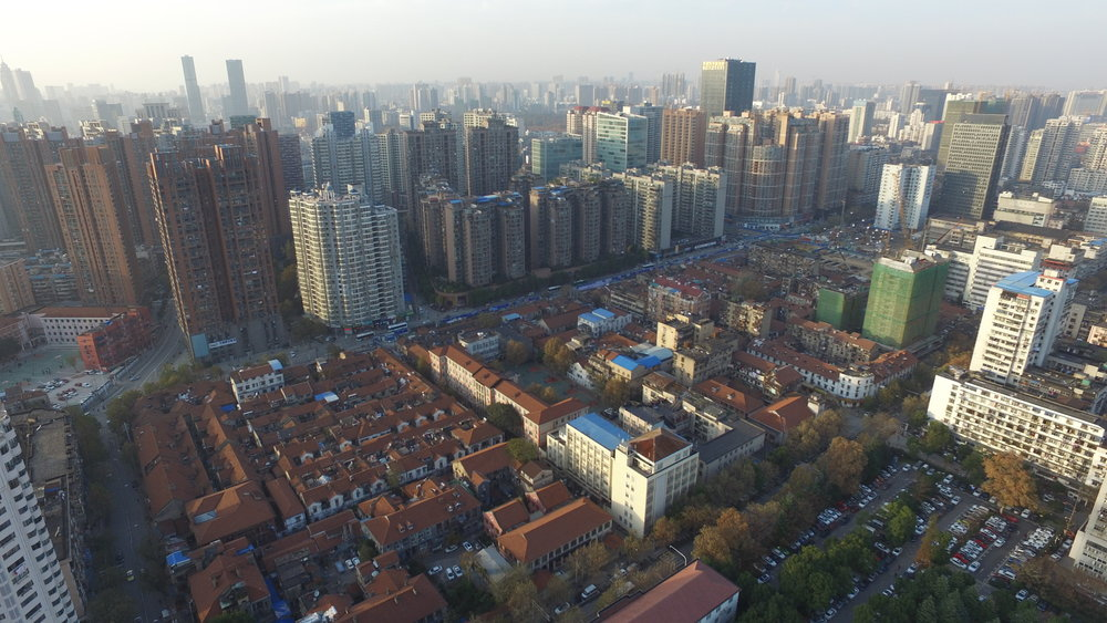 An aerial photo of the dense urban core in the Jianghan district of Wuhan, China. Credit: UN-Habitat