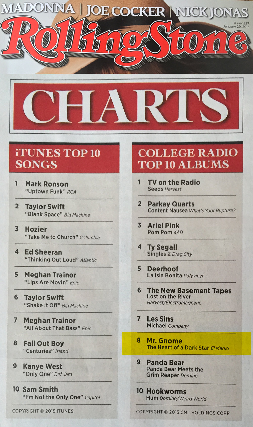 Rolling Stone Magazine - College Radio Top 10 AlbumsThe Heart of a Dark Star - January 2015