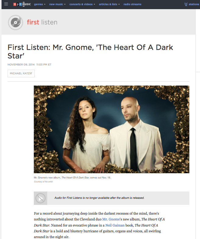 NPR Music - First Listen: 'The Heart of a Dark Star'November 2014READ MORE