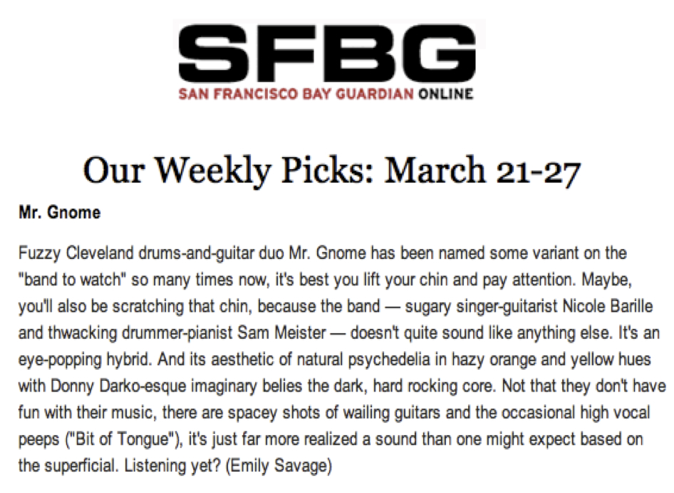 San Francisco Bay Guardian - Weekly PicksMarch 2012