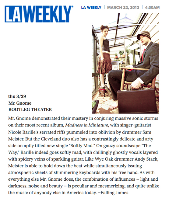 LA Weekly - Show Pick March 2012READ MORE