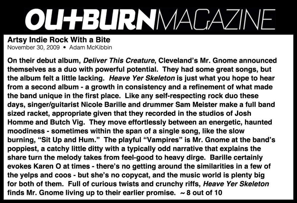 Outburn Magazine - Artsy Indie Rock With a Bite : Heave Yer SkeletonNovember 2009