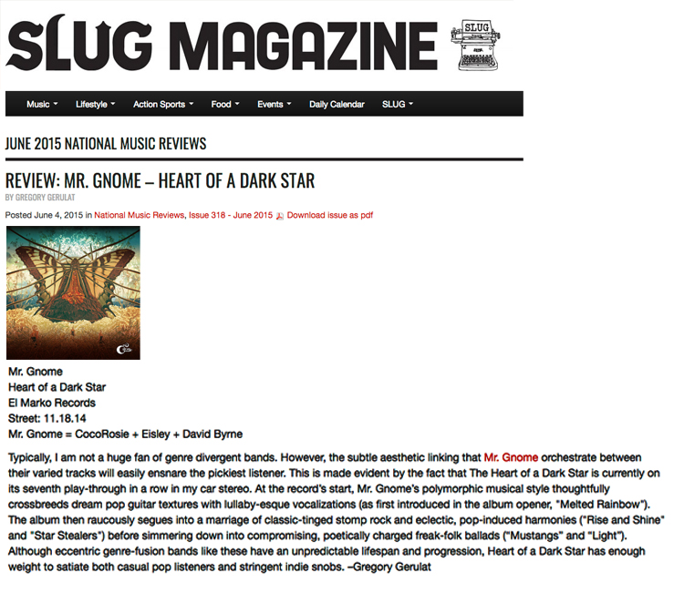 Slug Magazine - Review : The Heart of a Dark StarJune 2015READ MORE