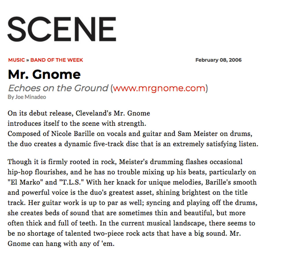 Scene Magazine - Band of the Week : Echoes on the GroundFebruary 2006READ MORE