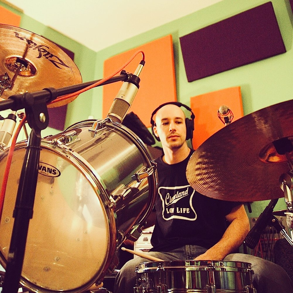 Sam recording drums at Jackpot Studios