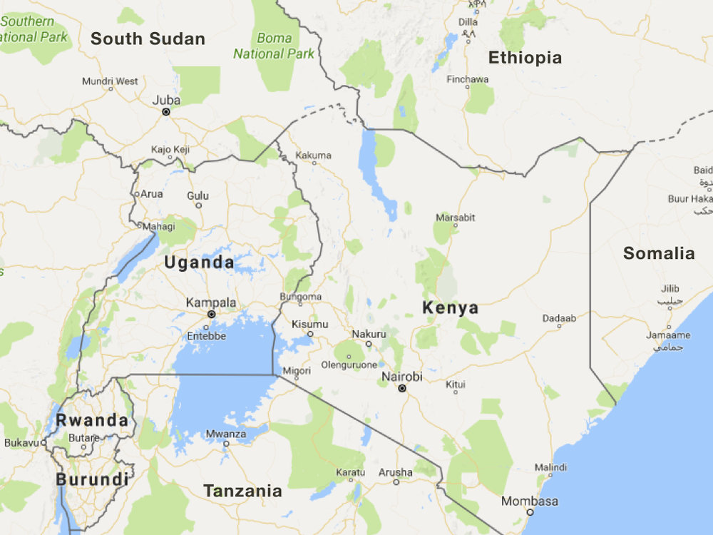 Kenya is bordered by four countries, Tanzania, Uganda, Somalia, Ethiopia, and South Sudan.
