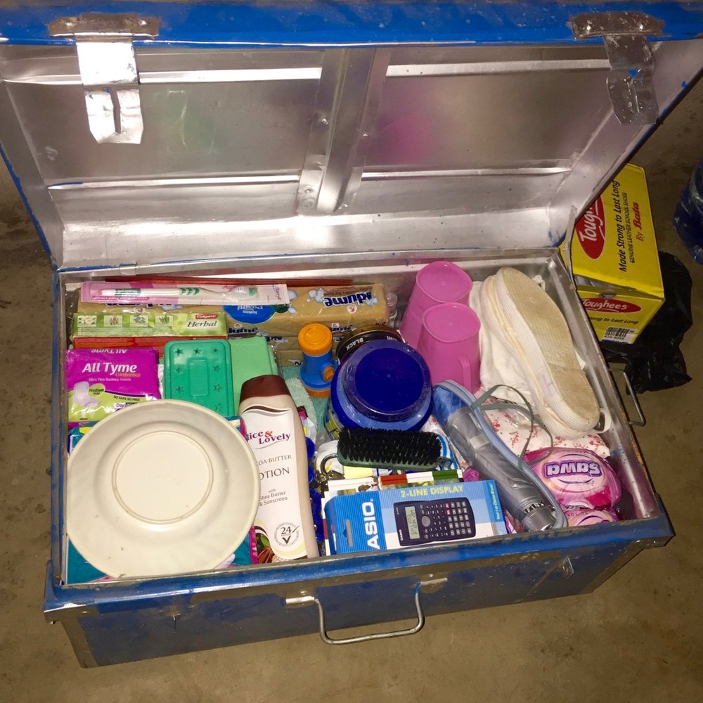 A typical school trunk for a secondary student.