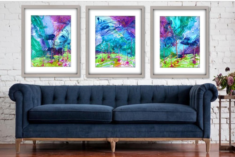 Summer Storm - 24 x 18 Mixed Media Original Art Work on 140lb Water Color Paper $425 Each