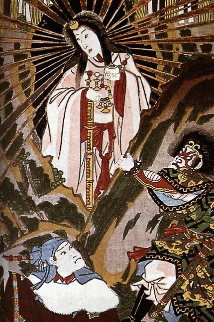 The Shinto sun goddess Amaterasu emerging from her cave