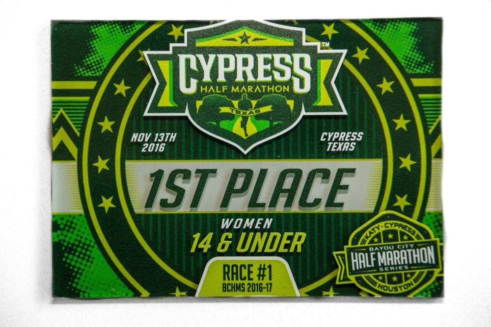 2016 Cypress Half Marathon age group award printed on acrylic, double-sided print.