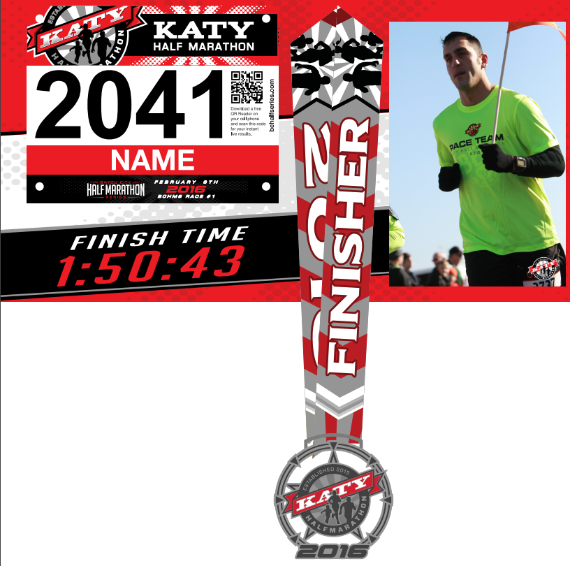 2016 Katy Half Marathon custom finisher's display with image and finish time printed on MDO.