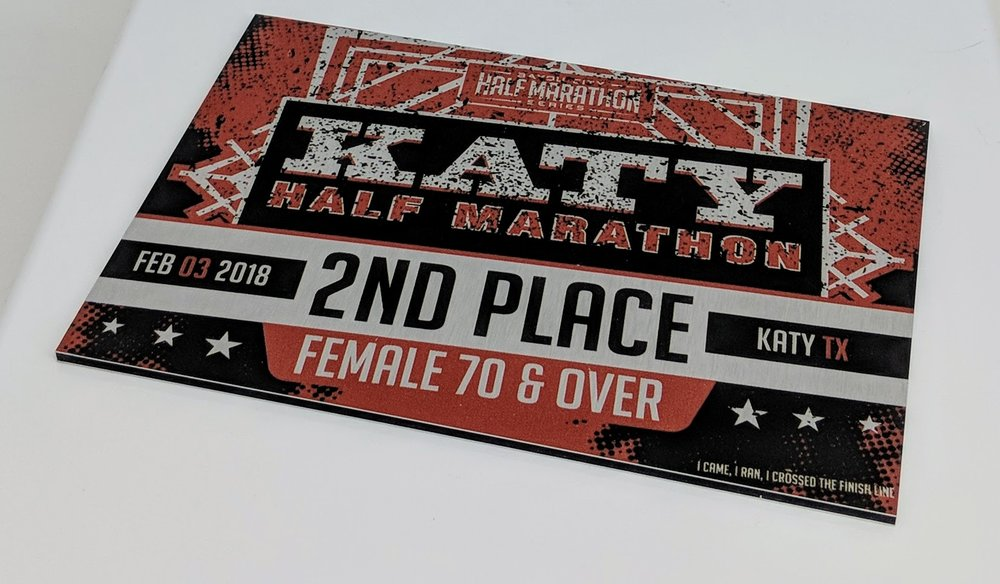 2018 Katy Half Marathon age group awards. Printed on DiBond with no flood.