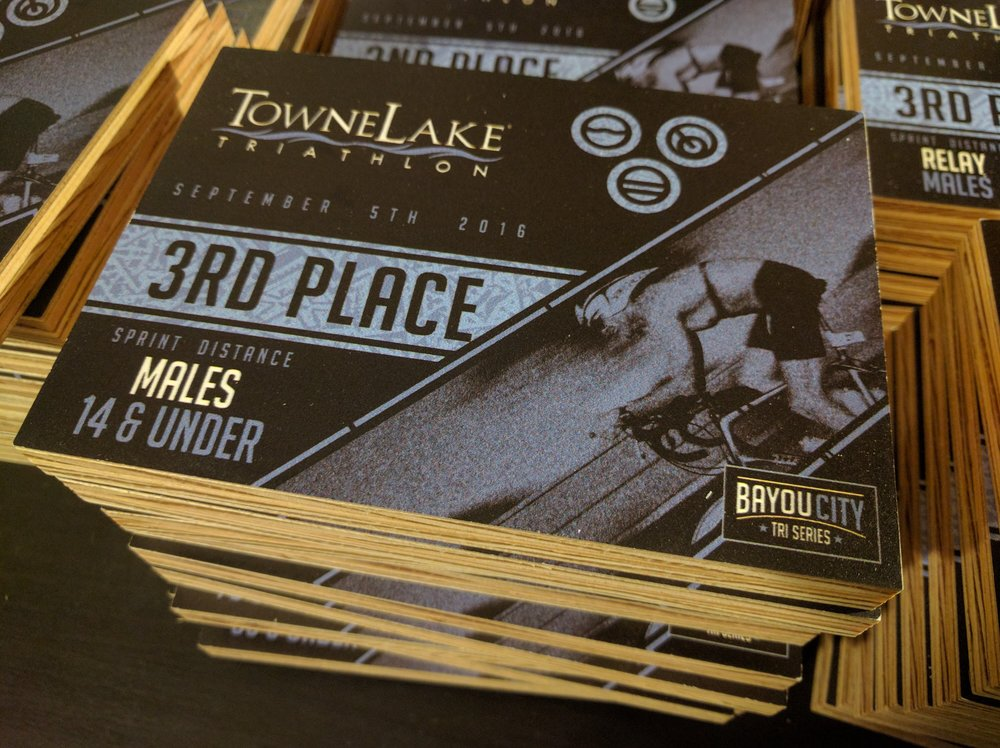 2016 Towne Lake Triathlon age group awards. Full color print on MDO.