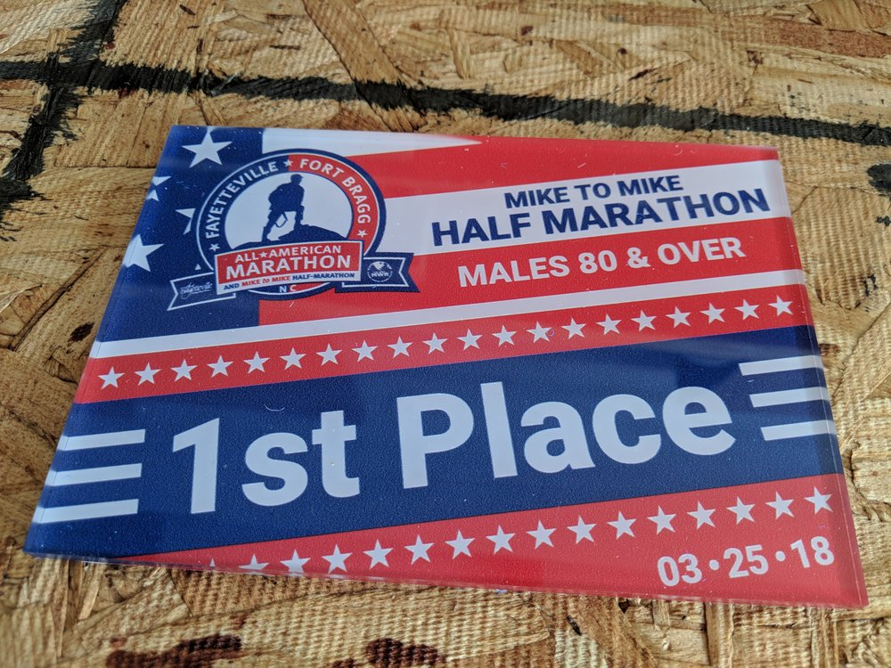 2018 All American Marathon age group awards. Single-sided print on acrylic with full color print and flood. (1/2)