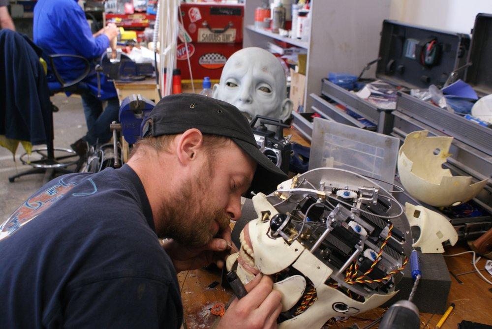 Gustav Hoegen building the animatronic engineer head.