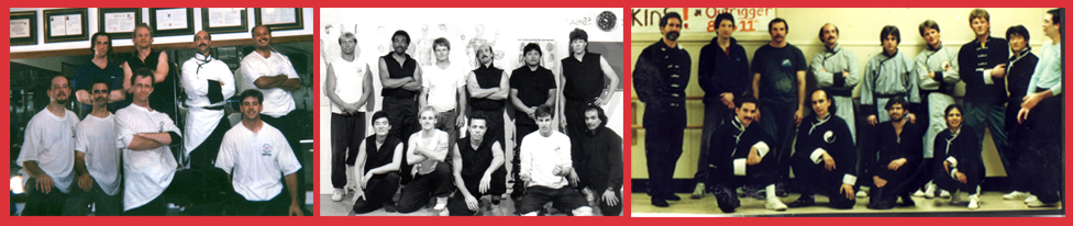 "Left : 1997 – Lineage Disciples of Chen Family Taijiquan pass their ""Fighting Test"" in the Guan (Training Hall), Pacific Grove, California  Center : 1993 – Fighters from the Ching Lung Martial Arts Kung Fu School in the Guan (Training Hall), Pacific Grove, California  Right : 1988 – Sifu Jerry Alan Johnson and his senior Kung Fu Disciples, after a Demonstration at the Carmel Sunset Center"