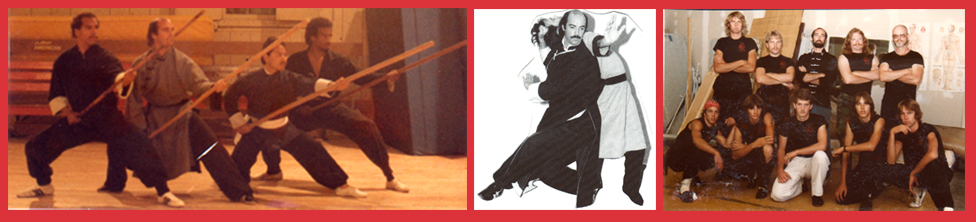Left : 1987 – Sifu Jerry Alan Johnson and three of his senior Mi Tsung Chuan Northern Shaolin Fighters, at Chautauqua Hall, in Monterey, California  Center : 1985 – Sifu Jerry Alan Johnson, Demonstrating Bagua Fighting Techniques, Pacific Grove, California  Right : 1984 – Fighters from the Ching Lung Martial Arts Kung Fu School, in Colorado Springs, Colorado