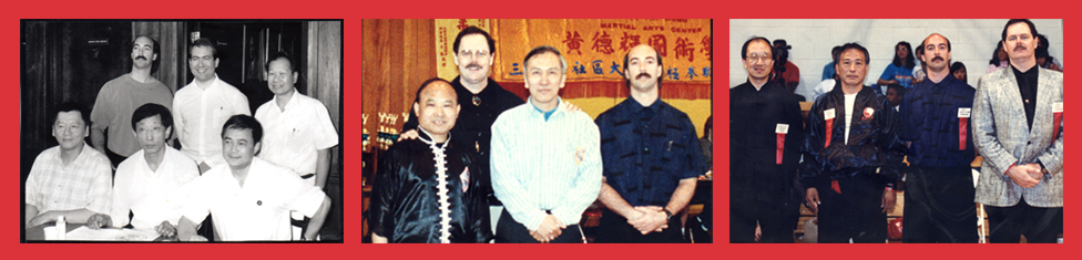 Bagua Masters   Left :Back Row – Bagua Masters: Jerry Alan Johnson, Ken Fish, and Wai Lun Choi;    Front Row – Bagua Masters: Lin Chih-Young, Park Bok Nam, and Liang Shou Yu  Center : Bagua Masters: Y.C.Wong, John Painter, Chien Liang Huang, Jerry Alan Johnson  Right : Bagua Masters: Zhao Da Yuan- Adam Shu, Jerry Alan Johnson, John Painter