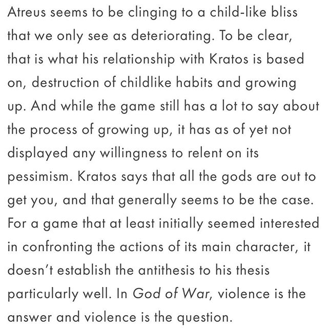 """In God of War, violence is the answer and violence is the question."" Here's a little taste of @trevdthompson's piece on #GodofWar and his own experience with his parents. Head over to verticalslicemedia.com to see this and the rest of our content (link to the article below). https://www.verticalslicemedia.com/post/2018/5/16/single-player-parenting-god-of-war-and-stories-of-childhood"