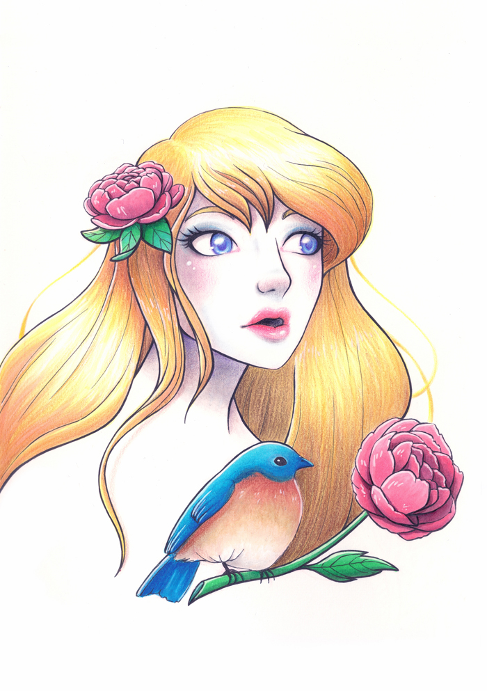 BLUEBIRD PRINCESS   ^ Black and colored pencils (lapiz negro y de colores) + fineliners (estilógrafos) + Copic markers (marcadores Copic) + white gel pen (lapicera de gel blanca) + Photoshop CS5.