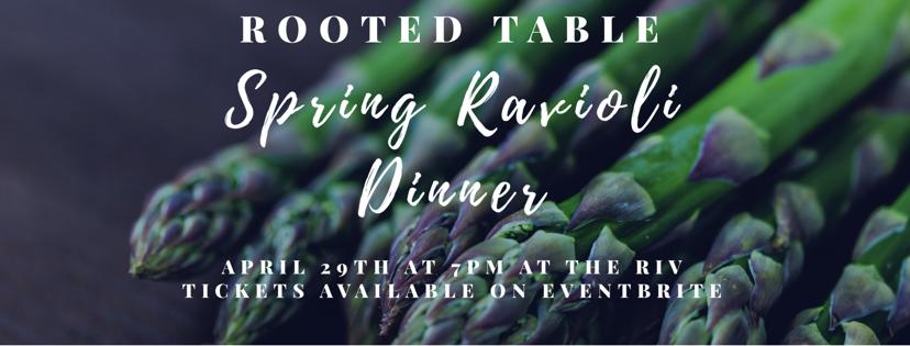 Rooted Table Spring Ravioli Fresh Pasta Dinner Italian Food The Dalles, Oregon Asparagus, salad, lemon budino