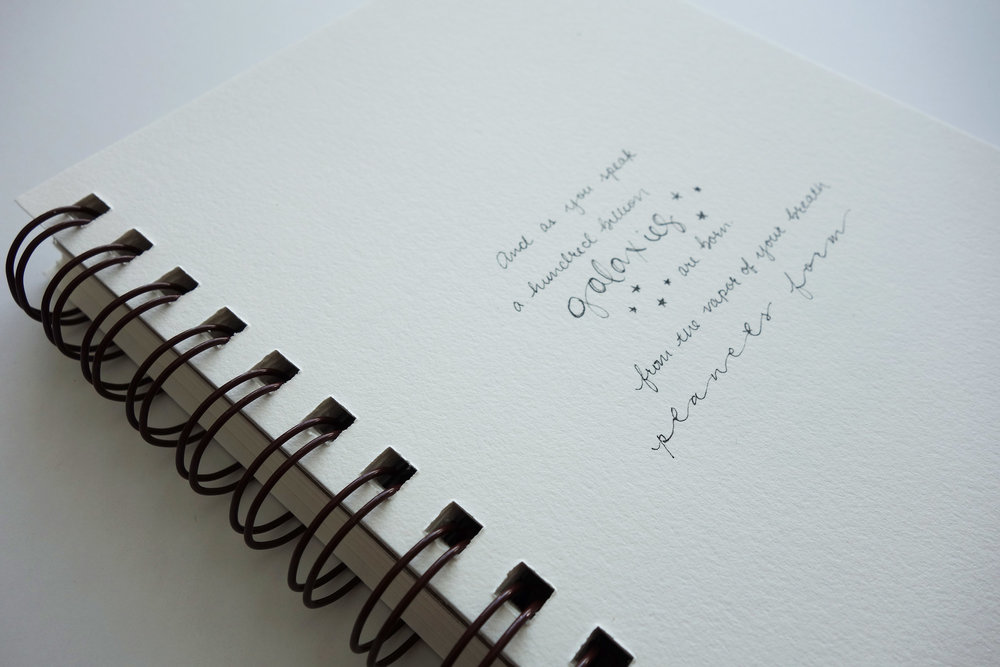 Samples of the handwriting you can expect. Cursive is flowy and romantic.