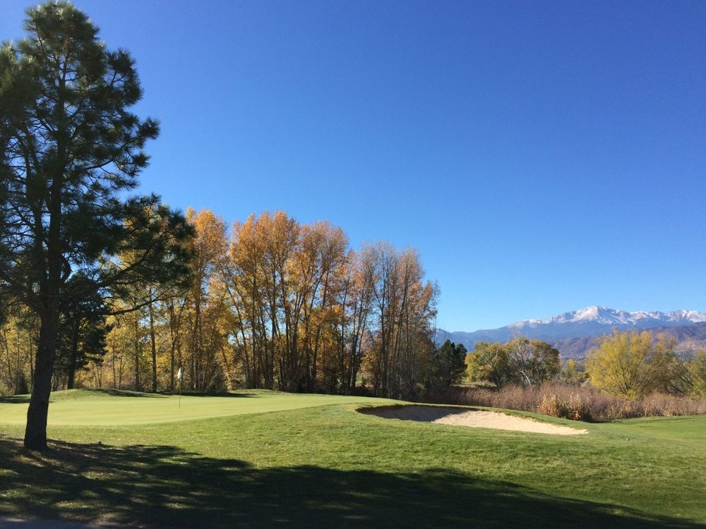 The glorious view looking past the par 5 15th green to the majestic Pikes Peak. Stop and take a picture here, we don't blame you.